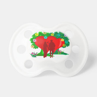couples in red heart and flowers pacifier