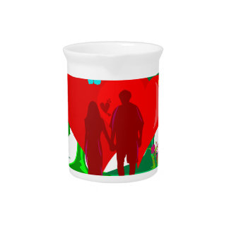 couples in red heart and flowers pitcher