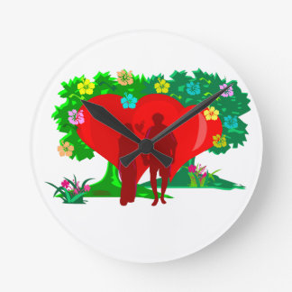 couples in red heart and flowers round clock
