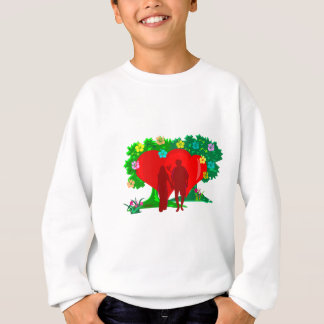 couples in red heart and flowers sweatshirt