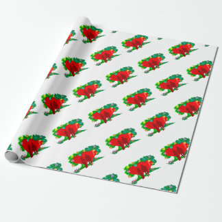 couples in red heart and flowers wrapping paper