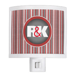 Couples Initials Closely Together Cool Stripes Nite Light