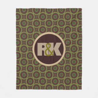 Couples Initials Snuggled Together Abstract Circle Fleece Blanket