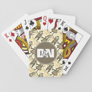 Couples Initials Snuggled Together Playing Cards