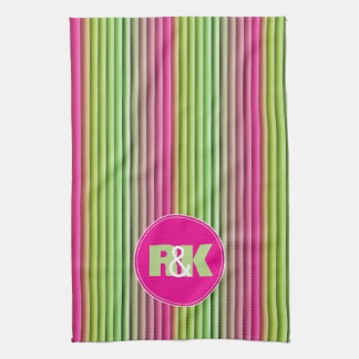 Couples Initials Snuggled Together Rainbow Kitchen Towel