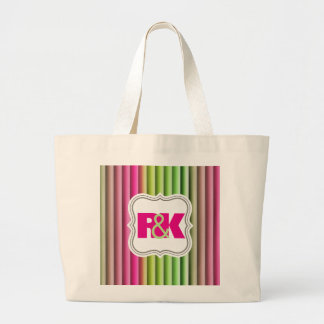 Couples Initials Snuggled Together Rainbow Large Tote Bag