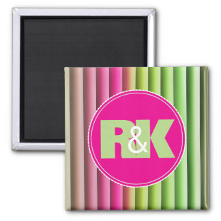 Couples Initials Snuggled Together Rainbow Magnet