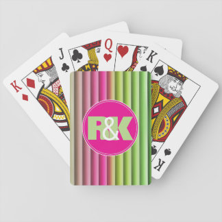 Couples Initials Snuggled Together Rainbow Playing Cards