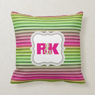 Couples Initials Snuggled Together Rainbow Throw Pillow