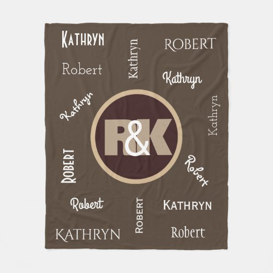 Couples Initials Snuggled Together w/Names Fleece Blanket