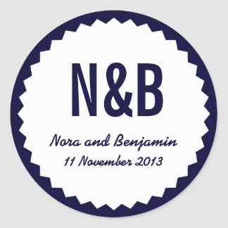 Couple's Initials, Wedding Date Favor Seal, Navy Classic Round Sticker