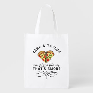 Couple's Love Pizza Personalized Reusable Grocery Bag