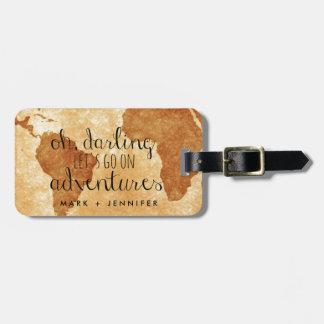 Couple's Map Oh Darling Let's Go on Adventures Luggage Tag