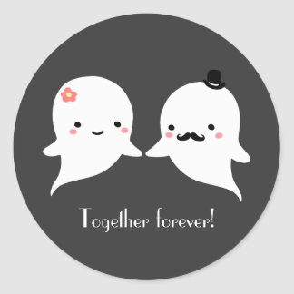 Couples mignons personnalisables de fantôme autocollants ronds