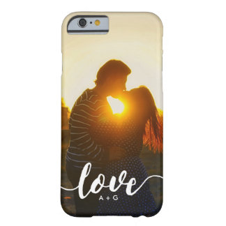 Couples Monogram LOVE Custom Photo Barely There iPhone 6 Case