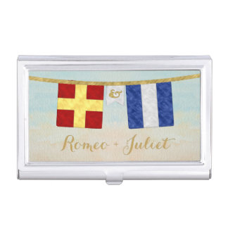 Couples Monogram Maritime Signal Flags Watercolor Business Card Holder