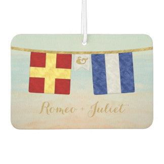 Couples Monogram Maritime Signal Flags Watercolor Car Air Freshener