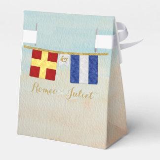 Couples Monogram Maritime Signal Flags Watercolor Favor Box
