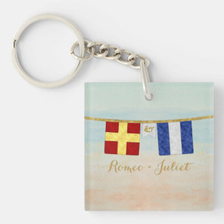 Couples Monogram Maritime Signal Flags Watercolor Keychain