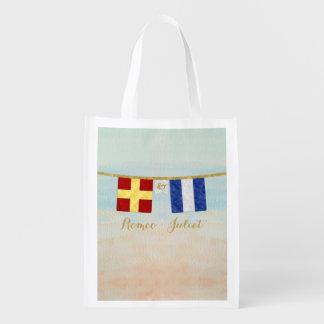 Couples Monogram Maritime Signal Flags Watercolor Reusable Grocery Bag