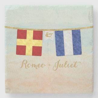 Couples Monogram Maritime Signal Flags Watercolor Stone Coaster