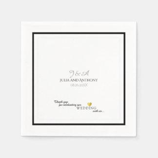 couple's monogram (names/initial) on white wedding paper napkin