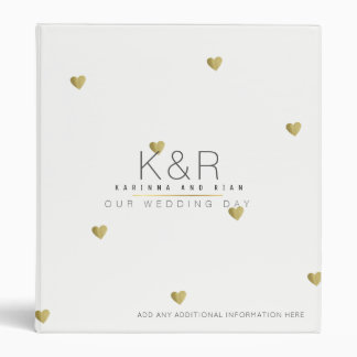 couples monogram with gold hearts wedding white vinyl binder