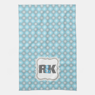 Couples Monograms Close Together Blue Checkers Kitchen Towel
