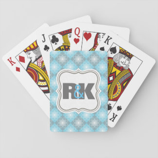 Couples Monograms Close Together Blue Checkers Playing Cards