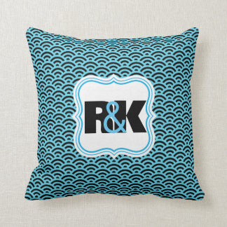 Couples Monograms Close Together Blue Symmetry Throw Pillow