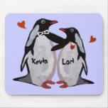 Couples Mousepads d'amour de pingouin Tapis De Souris