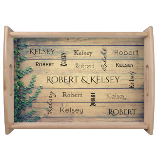 Couples Name On Wood w/Ivy Serving Tray