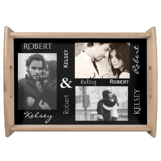 Couples Names and Three Photos Serving Tray