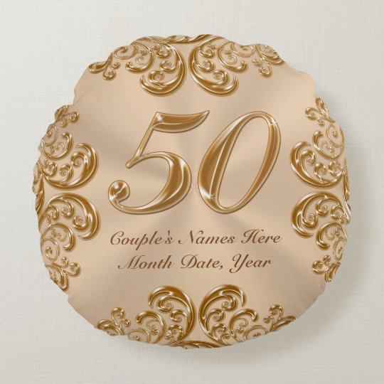 Couple's NAMES, DATE Round 50th Anniversary Pillow