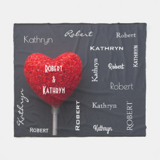 Couples Names Snuggle Together Fleece Blanket