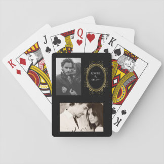 Couples Names & Two Photos Elegant Playing Cards