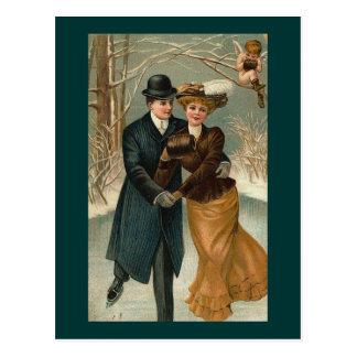Couples patinant, une scène vintage carte postale