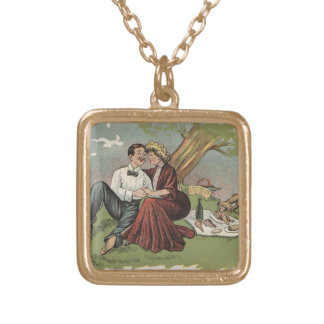 Couple's Picnic Gold Plated Necklace