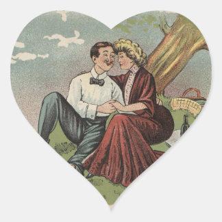 Couple's Picnic Heart Sticker