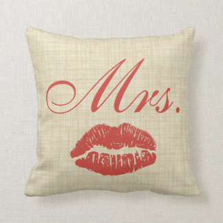 Couples' Pillow, Mrs w Red Lips on Cream Parchment Throw Pillow