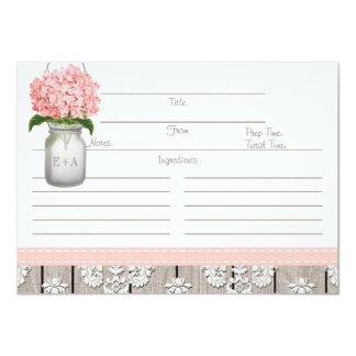 "Couples Pink Hydrangea Mason Jar Recipe Card 4.5"" X 6.25"" Invitation Card"