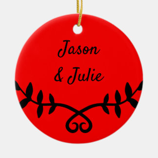 Couples Red Laurel and Text Christmas Ornament