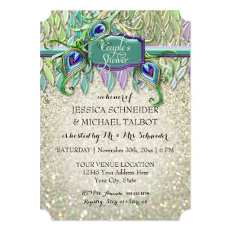 Couples Shower Art Deco Peacock Feather Glitter Card