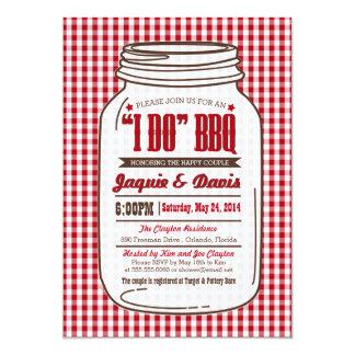 "Couples Shower BBQ Invitation in Mason Jar ""I DO"""
