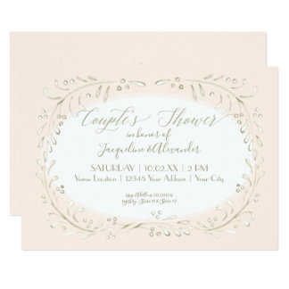 Couples Shower Modern Watercolor Wreath Foliage Card