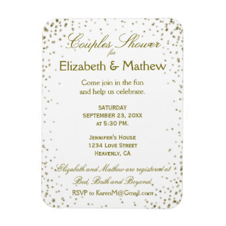 Couples Shower Save the Date Gold Confetti Magnet