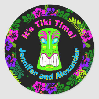 Couples Shower Tiki Time Classic Round Sticker