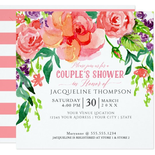 Couples Shower Watercolor Modern Bright Floral Art Card