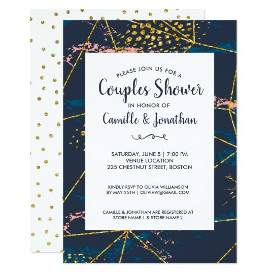 Couples Shower Wedding Gold Glitter Modern Chic Card