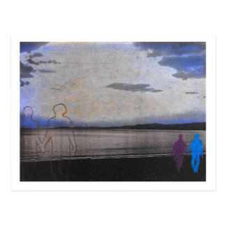 Couples strolling along the beach postcard. postcard